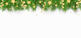Christmas background with Christmas tree, golden stars and confetti with ribbons. White background. Template for your project. Vec. Tor illustration Stock Photography
