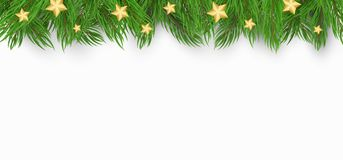 Christmas background with Christmas tree and golden stars. White background. Template for your project. Vector. Illustration Stock Photo