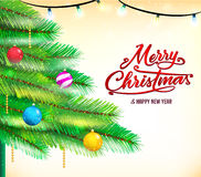 Christmas Background with Christmas Tree Greeting Card Vector Illustration Stock Photos
