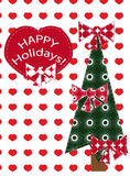 Christmas background with Christmas tree and heart Stock Photos