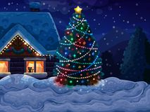 Christmas background with Christmas tree and house Royalty Free Stock Photography