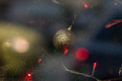 Christmas background with Christmas tree and lights close up. Horizontal background photo Stock Photography