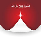 Christmas background with Christmas tree paper flap red Stock Image