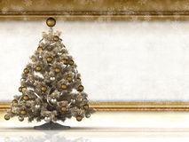 Christmas background - christmas tree and paper sheet Stock Photo