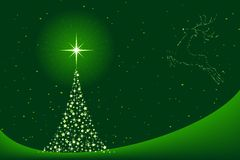 Christmas background with Christmas tree and reind. Horizontal green background for Christmas showing a Christmas tree made of stars and the silhouette of a Royalty Free Stock Images