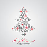 Christmas background with Christmas tree. From snowflakes Royalty Free Stock Image