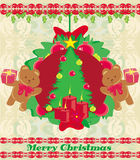 Christmas background with Christmas tree and sweet teddy bears. Illustration Royalty Free Stock Images