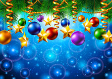 Christmas background with Christmas tree and toys vector illustration