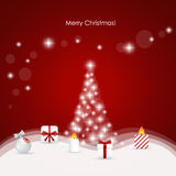 Christmas background with Christmas tree, vector illustration Stock Image