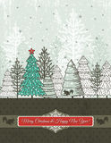 Christmas background with christmas trees, vector Royalty Free Stock Photo