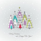 Christmas background with christmas trees, vector Stock Images
