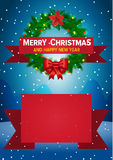 Christmas background with christmas wreath Stock Photos