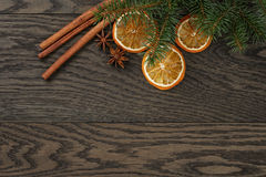 Christmas background with cinnamon anise and oranges Stock Image