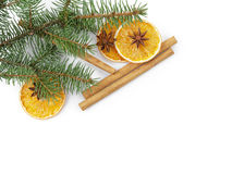 Christmas background with cinnamon anise and oranges Stock Photos