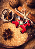 Christmas background with Cinnamon sticks,  Brown sugar, anise s Royalty Free Stock Photo
