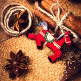 Christmas background with Cinnamon sticks,  Brown sugar, anise s Royalty Free Stock Images