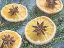 Christmas background with citrus fruit of orange slices and star anise on the spruce branches. Royalty Free Stock Photo