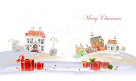 Christmas background with city and presents Stock Image
