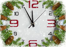 Christmas background with clock Royalty Free Stock Photography