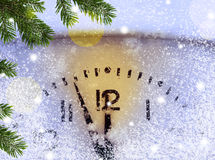 Christmas background with clock Royalty Free Stock Photo
