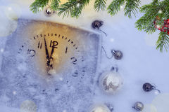 Christmas background with clock Stock Photo