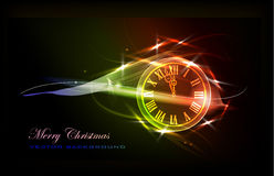 Christmas background with clock Royalty Free Stock Images