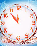 Christmas background with a clock Stock Photography