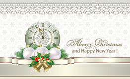 Christmas background with a clock Stock Photos