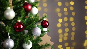 Christmas background - decorated christmas tree and lights stock footage