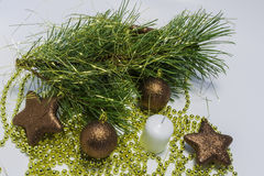 Christmas background. Christmas collection, decorative ornaments, on white background Stock Photos