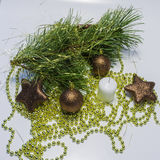 Christmas background. Christmas collection, decorative ornaments, on white background Stock Photography