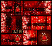 Christmas Background Collection - Red style. Christmas Background Collection with differrent shapes and all in red style with golden balls Stock Photo