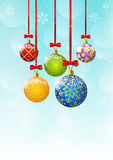 Christmas background with color balls. Christmas blue background with color balls vector illustration