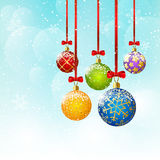 Christmas background with color balls. On blue background royalty free illustration