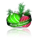 Christmas background with colored christmas ball and green pine needles for greeting card Stock Photography