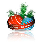 Christmas background with colored christmas ball and green pine needles for greeting card Royalty Free Stock Photos