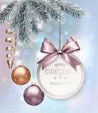 Christmas background with colorful balls and gift card. Vector illustration Stock Photo