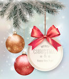 Christmas background with colorful balls and gift card. Royalty Free Stock Photo