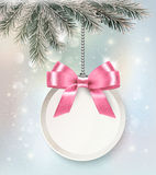Christmas background with colorful balls and gift card. Vector illustration royalty free illustration