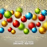 Christmas background with colorful balls. Vector Royalty Free Stock Photos