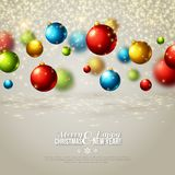 Christmas background with colorful balls. Royalty Free Stock Photo