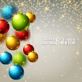 Christmas background with colorful balls. Vector illustration. Lights, sparkles. Design for invitations or announcements. Season greetings Stock Photography