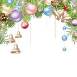 Christmas background with colorful balls. Vector illustration. Vector Christmas background with pink, blue, purple and silver balls and bells and green fir-tree Royalty Free Stock Images
