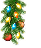 Christmas background with colorful garland, baubles and branches Stock Photos