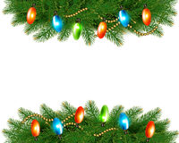 Christmas background with colorful garland and fir Stock Photo