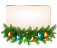 Christmas background with colorful garland and fir. Branches. Vector Royalty Free Stock Photos