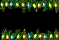 Christmas background with colorful garland and fir Royalty Free Stock Photography