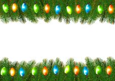 Christmas background with colorful garland and fir branches Royalty Free Stock Images