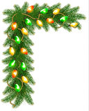 Christmas background with colorful garland and fir branches Stock Photography