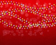 Christmas background with colorful garlands. Stock Images